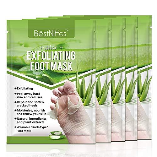Foot Peel Mask, Exfoliating Foot Masks, Natural Exfoliator for Dry Dead Skin, Callus, Repair Rough Heels for Men Women (Aloe 5 pack)