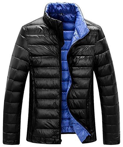 ZSHOW Men's Lightweight Packable Down Jacket Stand Collar Winter Coat(Black,Medium)