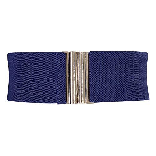 Grace Karin Vintage Ladies Stretchy Elastic Metal Waist Belt for Girls,Navy Blue,Large