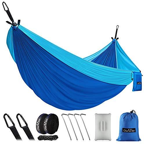 OlarHike Double Camping Hammock, Lightweight Portable Nylon 2 Person Hammocks with Tree Straps, 500lbs Capacity Hammock for Outdoor Indoor Backpacking Travel Beach Garden Yard