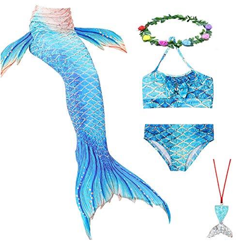 KESEPLEI Mermaid Swimsuit with Mermaid Tails for Swimming Bikini Bathing Suit for Girls 4-13Y,6Pcs Light Blue