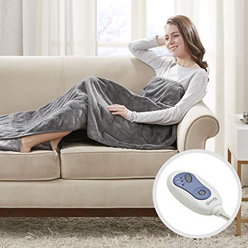 Beautyrest Foot Pocket Soft Microlight Plush Electric Blanket Heated Throw Wrap with Auto Shutoff-5 Year Warranty, 50x62, Grey