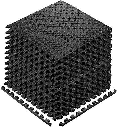 StillCool Puzzle Exercise Floor Mat, EVA Interlocking Foam Tiles Exercise Equipment Mat with Border - for Gyms, Yoga, Outdoor, Kids (E. 20 Square Feet (20 Tiles) - Black)