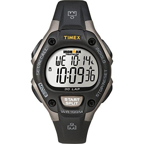 Timex Women's Ironman 30-Lap Digital Quartz Mid-Size Watch, Black/Gray - T5E961