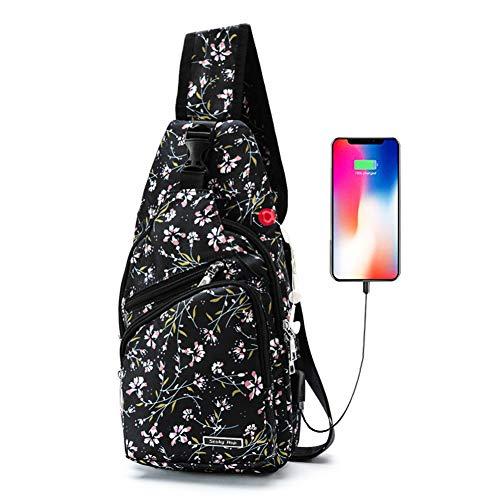 Men Women Sling Backpack Anti Theft Crossbody Shoulder Chest Bag with USB Charging Port, Black-Wisteria Flower