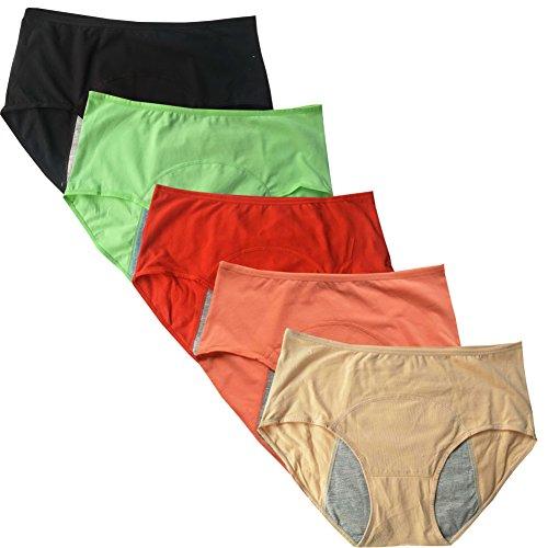 YOYI FASHION Women's Menstrual Period Soft Cotton Leak Proof Brief 5 Pack Black,Beige,Green,Red,Orange US M/6