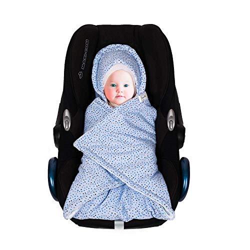 SWADDYL Baby blue swaddle hooded blanket I stroller I carseat blanket I newborn babies I winter I minky plush