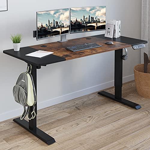 Electric Height Adjustable Standing Desk, Radlove 55'' x 24'' Stand Up Desk Workstation, Splice Board Home Office Computer Standing Table Height Adjustable Ergonomic Desk (Black Frame + 55' Brown Top)