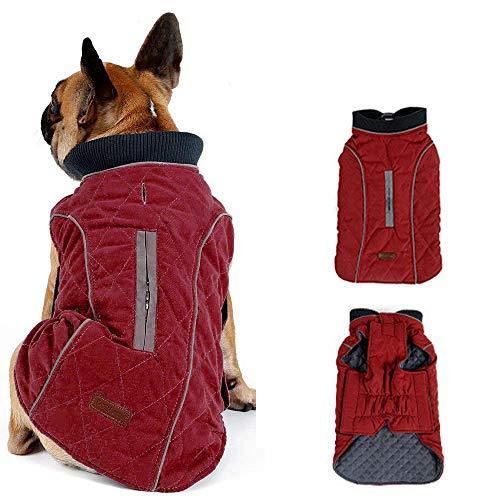 Morezi Retro Design Cozy Winter Dog Pet Jacket Vest Warm Pet Outfit Clothes Pleat Cotton 2 Colors with Harness Hole - XS - Red