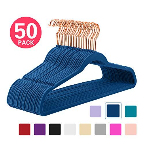 MIZGI Premium Velvet Hangers (Pack of 50) Heavyduty - Non Slip - Velvet Suit Hangers Dark Blue - Copper/Rose Gold Hooks,Space Saving Clothes Hangers