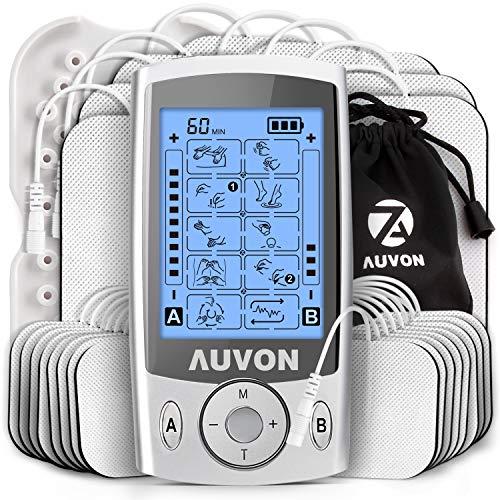 AUVON Dual Channel TENS Unit Muscle Stimulator (Family Pack), 20 Modes Rechargeable TENS Machine with Huge Pack of 24 Pcs Reusable TENS Unit Electrode Pads (2'x2' 16pcs, 2'x4' 8pcs)