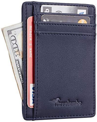 Travelambo Front Pocket Minimalist Leather Slim Wallet RFID Blocking Medium Size(VP Blue)