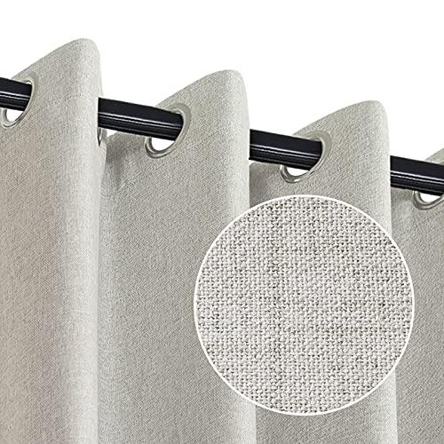 RHF Blackout Curtains for Bedroom, Primitive Linen Look, 100% Blackout Curtains Linen Blackout Curtains, Grommet Curtains for Living Room, Burlap Curtains-2 Panels (50x84 Beige)
