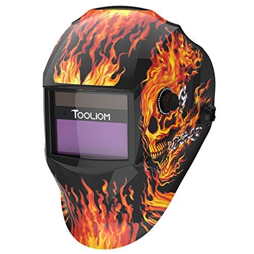 TOOLIOM True Color Welding Helmet Auto Darkening Welding Mask with Shade Range 9-13 Solar Powered Weld Hood Flaming Skull Style for TIG MIG ARC
