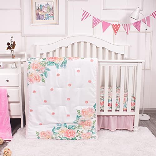 La Premura Watercolor Peach Floral Nursery Crib Bedding Set for Baby Girls, 3 Piece Standard Size Crib Bedding Sets, Pastel Pink & Peach