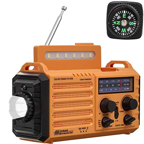NOAA Weather Radio,Emergency Portable Weather Alert Radio,AM/FM/Shortwave Weather Radio NOAA Alert,Solar/Hand Crank/Rechargeable Battery/AC Plug Powered,USB Phone Charger,LED Flashlight/Reading Lamp