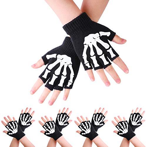 URATOT 5 Pairs Kids Skeleton Gloves Warm Glow in The Dark Fingerless Halloween Costume Gloves