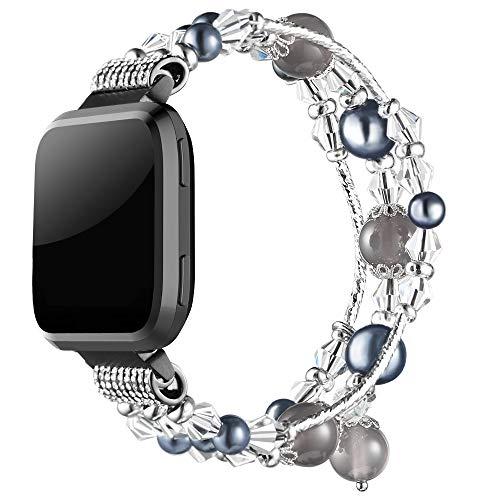 Simpeak Band Compatible with Fitbit Versa / Versa 2 / Versa Lite/Versa SE Smartwatch, Jewelry Bracelet Elastic Beaded Pearl Band Replacement for Fitbit Versa,Women Girls, Black