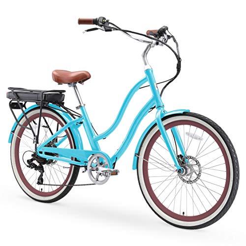 sixthreezero EVRYjourney Women's Electric Bicycle, 7-Speed Step-Through Touring Hybrid eBike, 500 Watt Motor, 26' Wheels, Teal