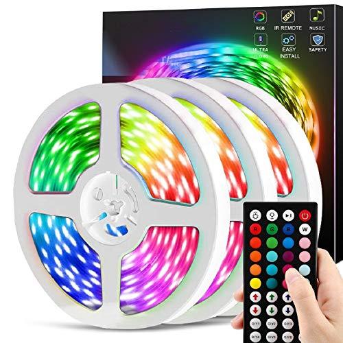 50ft Led Strip Lights, CHUSSTANG LED Lights Strip for Bedroom, LED Lights with 44 Keys IR Remote Controller, Color Changing 5050 RGB 360 LEDs, LED Tape Light Strip Music Sync & Timer for Bedroom