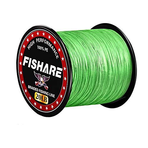 FISHARE 4 Strands Neon Green Braided Fishing Line - 300YD,40LB
