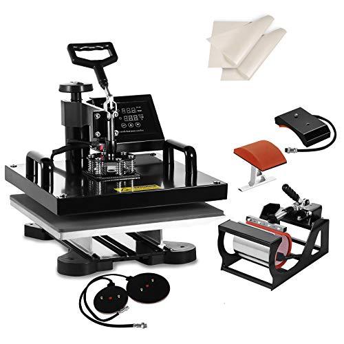SHZOND 5 in 1 Heat Press Machine 15'x 15' Heat Transfer Machine for T Shirts Hat Mug Plate (5 in 1)