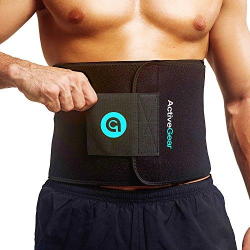 ActiveGear Waist Trimmer Belt for Stomach and Back Lumbar Support, Medium: 8' x 42' - Blue