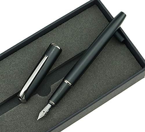 Picasso 916 Matte Black & Gray Ring Fountain Pen with Gift Box - Titanium Gray Extra Fine Nib