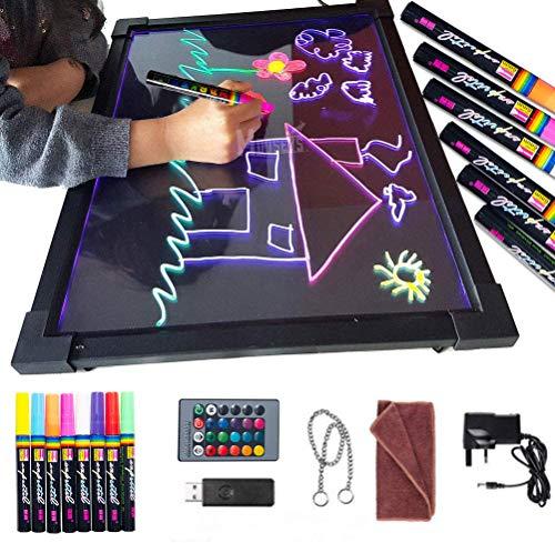 Sensory LED Message Writing Board 16''×12'' Illuminated Light Up Drawing Painting Boards Kids Acrylic Erasable Neon Flashing Doodle for Kitchen, Wedding, Promotions, Educational Toys, Gifts
