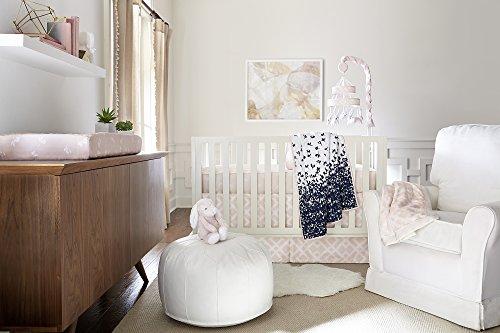 Ivanka Trump Wildflower Collection: 4pc Nursery Bedding Baby Crib Bedding Set - Pink/White/Navy Crib Bedding with Pink Plush Bunny