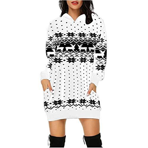 VEKDONE Womens Ugly Christmas Sweater Christmas Dress Snowflake Merry Xmas Mini Dress Hooded Sweatshirt(White,Small)