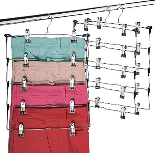 Space Saving 5 Tier Metal Skirt Hanger with Clips Hang 5-on-1, Gain 70% More Space, Rubber Coated Hanger Clips, 360 Swivel Hook, Adjustable Clips Pants Hanger, Hang Slack,Trouser,Jeans,Towels (6 Pack)
