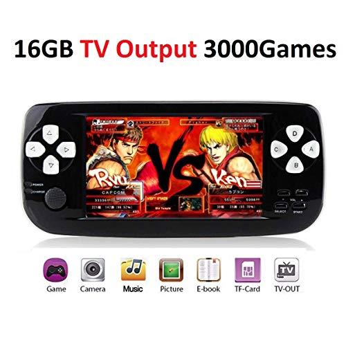 MJKJ Handheld Game Console , Portable Video Game Console 4.3 Inch 3000 Classic Retro Game Console Pap-KIII , Support GBA / GBC / GB / SEGA / NES / SFC / NEOGEO - Black