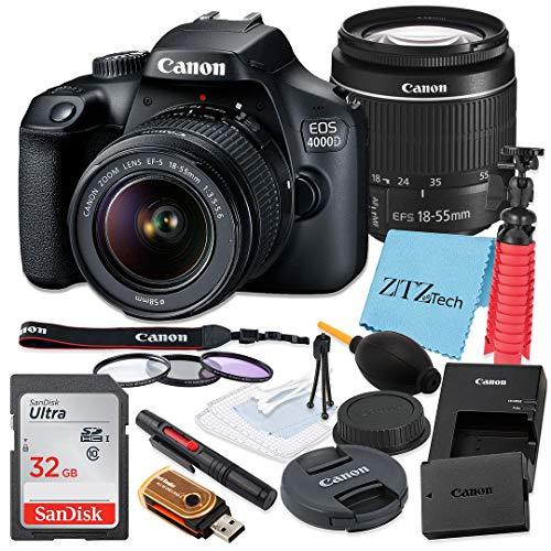 Canon EOS 4000D / Rebel T100 DSLR Camera 18-55mm f/3.5-5.6 Zoom Lens, SanDisk 32GB Memory Card, Tripod, 3 Pieces Filter (UV, CPL, FLD), ZeeTech Accessory Bundle