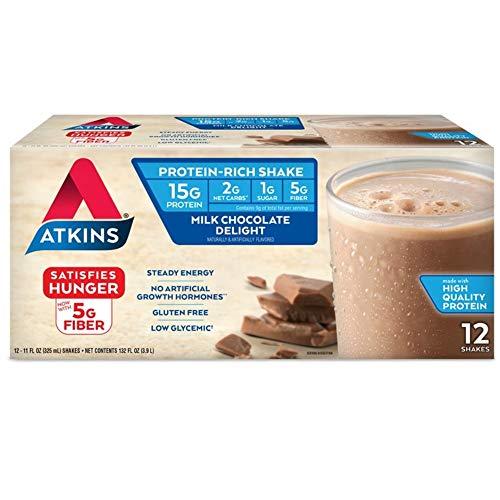 Atkins Gluten Free Protein-Rich Shake, Milk Chocolate Delight, Keto Friendly (Pack of 12)