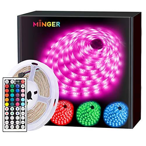 MINGER LED Strip Lights 16.4ft, RGB Color Changing LED Lights for Home, Kitchen, Room, Bedroom, Dorm Room, Bar, with IR Remote Control, 5050 LEDs, DIY Mode