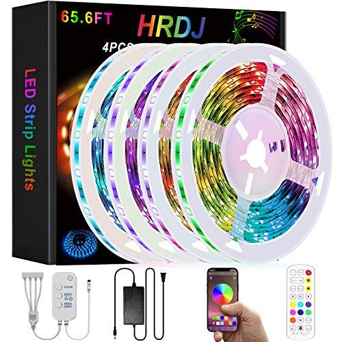 HRDJ Smart Led Strip Lights 65.6ft, Music Sync Color Change Led Light Strips 5050 SMDRGB Strip Light with Remote App Control Led Lights for Bedroom Home