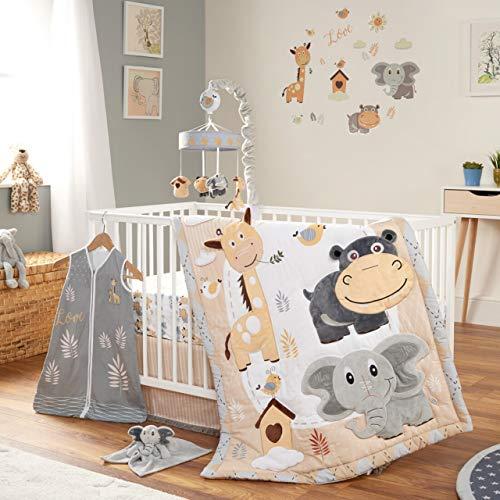 Oberlux Crib Bedding Set for Boys and Girls, 8 Piece Baby Nursery Bedding Crib Set, Jungle Animal Safari Theme, Gray/Tan/White