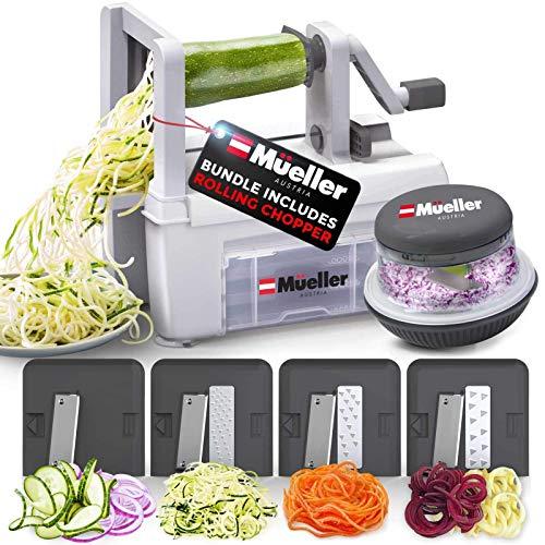Mueller Pro Multi-Blade Spiralizer Vegetable Slicer Zester Chopper Dicer, ProQuality, Only Model to Make Round Veggie Pasta, Not Flat Julienne Noodles. Bundle Includes our Innovative Rolling Chopper