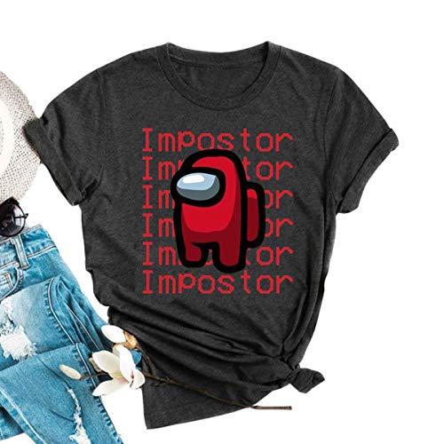 kfulemai Womens Funny Impostor Among us Tshirt Among us Game Graphic Tee Tops (L, Dark Grey)