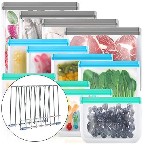 Reusable Storage Bags,12 Pack BPA Free Reusable Freezer Bags (4 Reusable Sandwich Bags, 4 Reusable Snack Bags, 4 Reusable Gallon Bags), Leakproof Reusable Silicone Food Bags