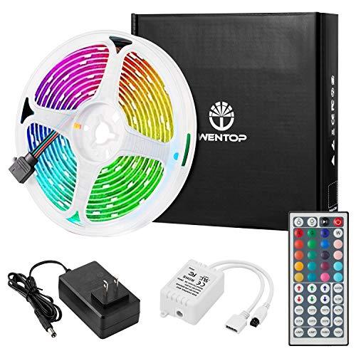 WenTop Led Strip Lights Kit 16.4 Ft (5M) 150leds 30leds/m 5050 SMD RGB LED Tape Lights with DC12V 44key Ir Remote Controller for Kitchen Bedroom Sitting Room