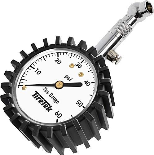 TireTek Tire Pressure Gauge 0-60 PSI - Tire Gauge for Car, SUV, Truck & Motorcycle - Heavy Duty Air Pressure Gauge ANSI Certified