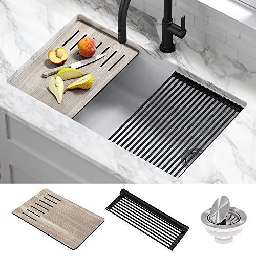 Kraus KGUW1-33WH Bellucci Workstation Undermount Granite Composite Single Bowl Kitchen Sink with Accessories, 33 Inch, White