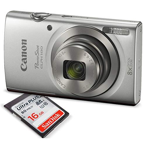 Canon PowerShot ELPH 180 Digital Camera (Silver) + 16GB SDHC Memory Card