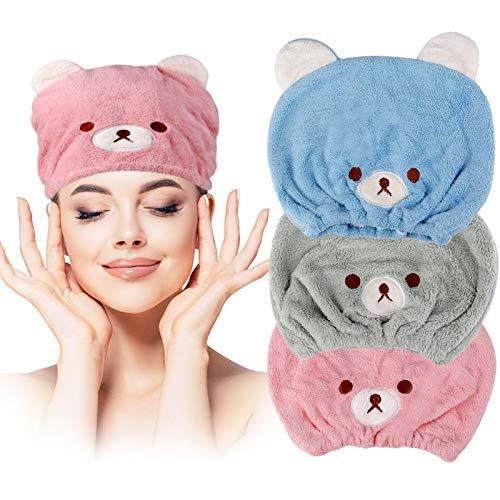 Lamoutor 3Pcs Hair Drying Towel for Kids Girls Soft Absorbent Kids Dry Hair Cap Kids Hair Towel Wrap Head Towel Wraps for Kids