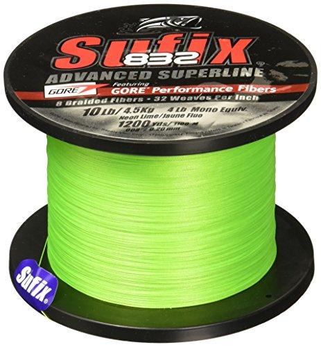 Sufix 832 Braid Line-1200 Yards (Neon Lime, 10-Pound)