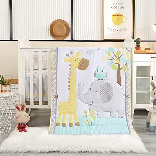 Wowelife Elephant Baby Crib Bedding Set Grey 7 Piece Elephant Owl and Giraffe Baby Nursery Crib Bedding(Grey Elephant)