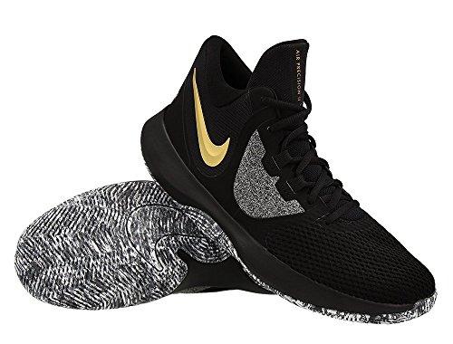 Nike Air Precision 2 Mens Basketball Shoes (7.5, Blk MTLC Gold Wht)