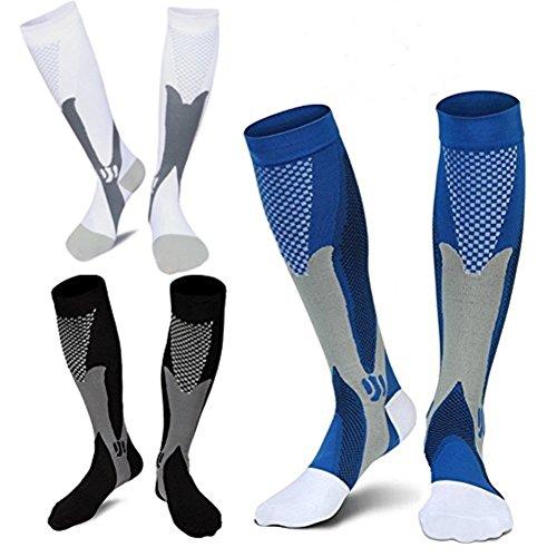 3 Pairs Medical&Althetic Compression Socks for Men, 20-30 mmhg Nursing Performance Socks for Edema, Diabetic, Varicose Veins,Shin Splints,Running Marathon(Men8-14in Women8-15in) (Blue+Black+White)